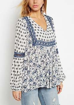 Boho Floral Peasant Top by Clover + Scout
