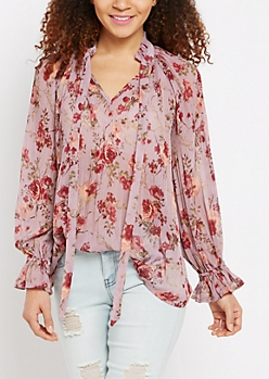 Lavender Rose Pleated Blouse By Clover + Scout