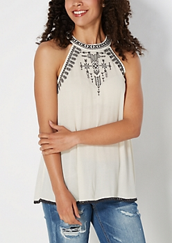 Embroidered High Neck Tank by Clover + Scout®