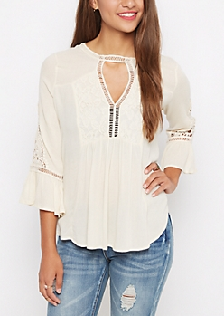 Ivory Crochet Swirl Peasant Top By Clover + Scout®