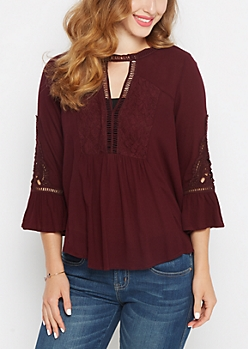 Burgundy Crochet Swirl Peasant Top By Clover + Scout®