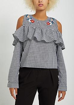 Gingham Floral Embroidered Cold Shoulder Top