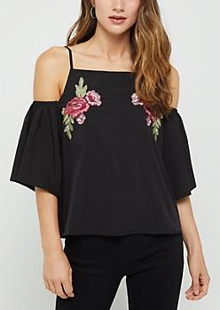 Black Embroidered Floral Cold Shoulder Blouse