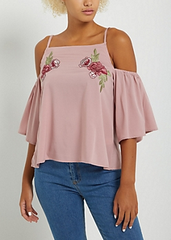 Pink Embroidered Floral Cold Shoulder Blouse