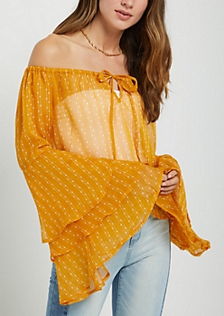 Mustard Dotted Tiered Bell Sleeve Top