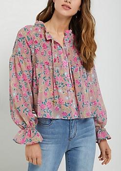 Pink Floral Smocked Peasant Top