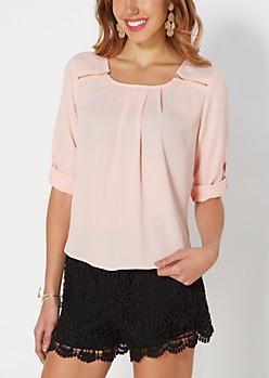 Pink Georgette Chiffon Zipper Blouse