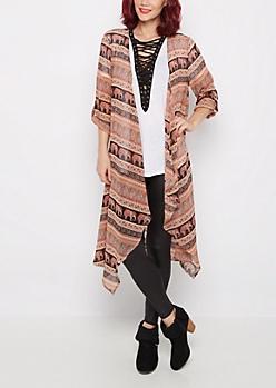 Paisley Elephant Cascading Kimono