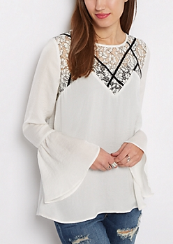 Floral Lace Caged Bell Sleeve Blouse