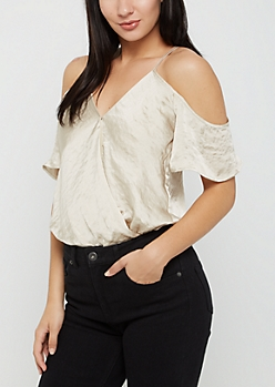 Taupe Satin Surplice Cold Shoulder Bodysuit