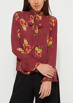 Purple Floral Tie Front Blouse