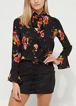 Black Floral Tie Front Blouse