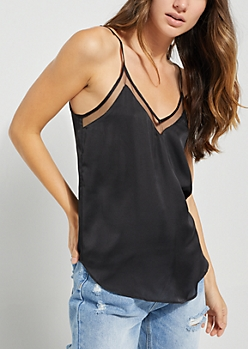 Black Layered Woven Cami Top