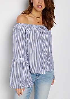 Striped Bell Sleeved Off-Shoulder Top
