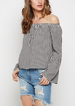 Gingham Bell Sleeved Off-Shoulder Top