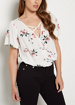 Floral Cross Strap Blouse