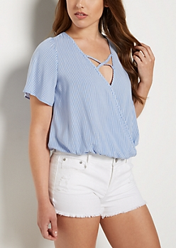 Striped Cross Strap Blouse