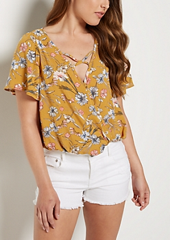 Wild Flower Cross Strap Blouse