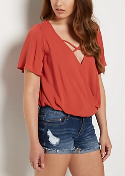 Burnt Orange Cross Strap Blouse