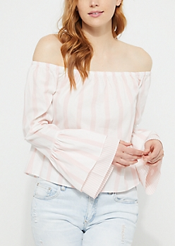 Pink Striped Off-The-Shoulder Double Ruffle Top