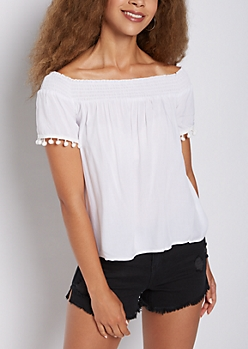 Smocked Pom Pom Off Shoulder Top
