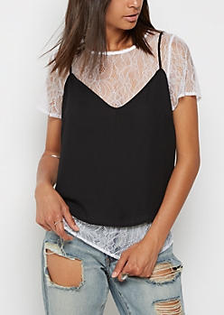 Black Cami & White Lace Tee