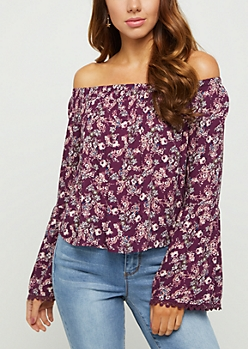 Floral Bell Sleeve Off Shoulder Top