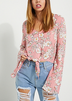 Pink Floral Bell Sleeve Crop Blouse