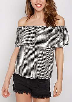 Gingham Flounced Off-Shoulder Top