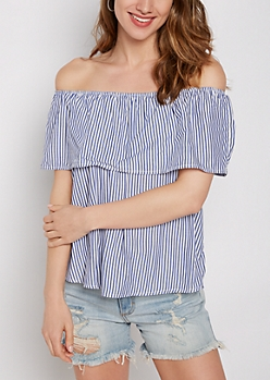 Striped Flounced Off-Shoulder Top