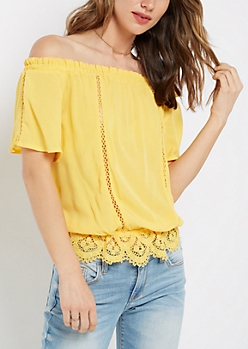 Yellow Peasant Off Shoulder Top