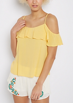 Flounced Cold Shoulder Top