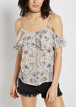 Floral Folklore Flounced Cold Shoulder Top