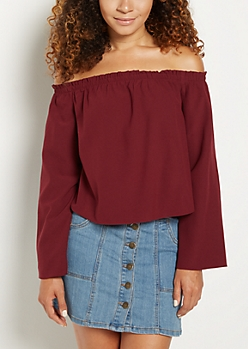 Burgundy Chiffon Off Shoulder Shirt