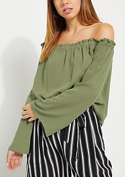 Olive Smocked Off Shoulder Top