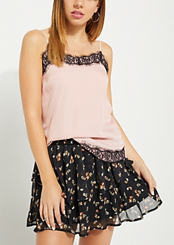 Pink Sateen Eyelash Lace Cami