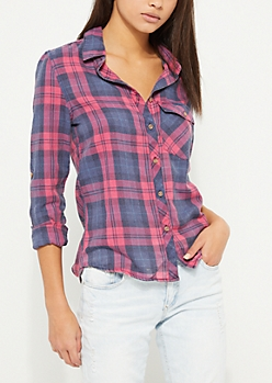 Navy Woven One Pocket Flannel Shirt