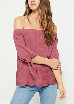 Dark Pink Embroidered Off Shoulder Top