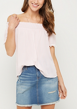 Pink Striped Pom Off Shoulder Top