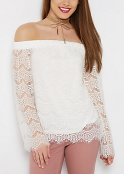 Ivory Lace Off-Shoulder Bell Sleeve Top