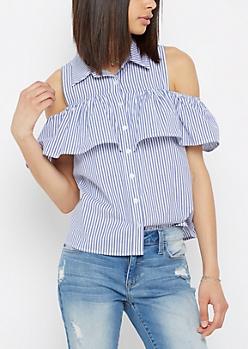 Ruffled Cold Shoulder Button Down Shirt