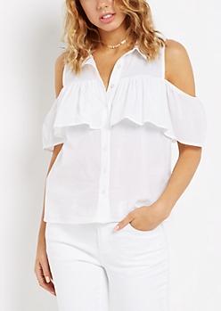 Shoulder Ruffle Sleeveless Shirt