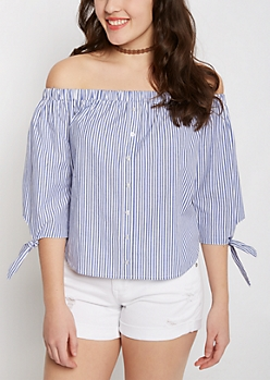 Striped Tie Sleeved Off-Shoulder Top
