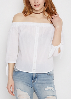Knotted Sleeve Shirttail Off-Shoulder Top