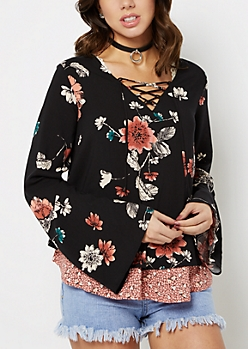 Vintage Floral Layered Blouse