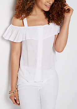 White Flutter Cold Shoulder Top