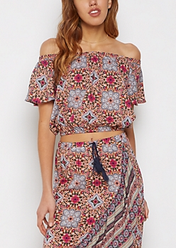 Folklore Crop Off Shoulder Top