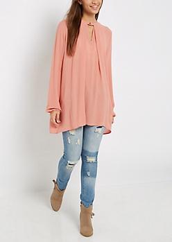 Peach Keyhole High Neck Tunic Top
