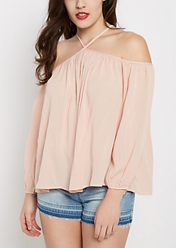 Pink Halter Cold Shoulder Top