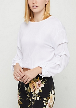 White Ruched Sleeve Blouse
